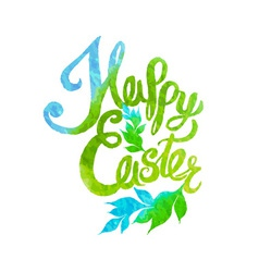 Happy easter watercolor painted colored stylized vector