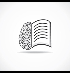 Book icon with brain stock vector