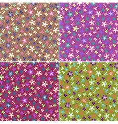 Flower seamless color pattern set vector