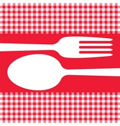 Cutlery on red tablecloth vector