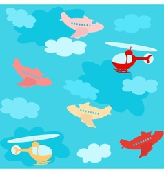 Seamless pattern with airplanes and clouds vector