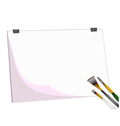 Artist brushes and eraser on blank clipboard vector