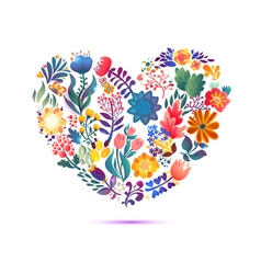 Love card with floral bouquet valentines day with vector