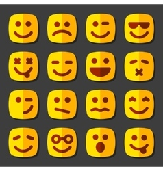 Emotional square yellow faces icon set vector