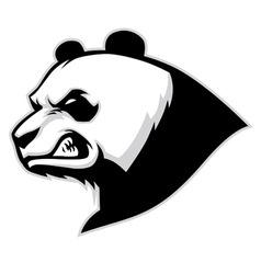 Angry panda head mascot vector