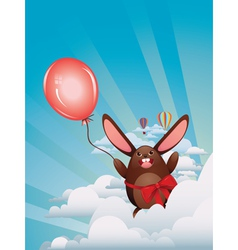 Chocolate bunny with balloon3 vector