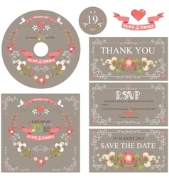 Vintage wedding template set with floral wreath vector