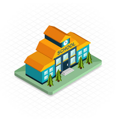 School building isometric 3d pixel design icon vector