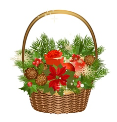 Gift basket with flowers vector