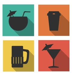 Flat icons for drinks vector