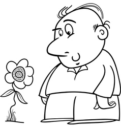 Man with sunflower coloring page vector