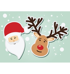 Santa claus and reindeer christmas and new year vector