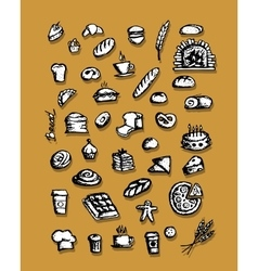 Bakery collection sketch for your design vector