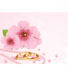 Wedding rings and cherry blossom vector