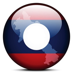 Map on flag button of laos vector