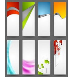 Abstract tech metallic and wavy vertical banners vector
