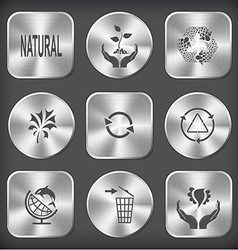 Natural plant in hands recycle symbol abstract vector