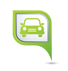 Car icon on green map pointer vector
