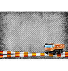 Construction texture with orange tape and truck vector