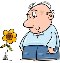 Man with sunflower cartoon vector