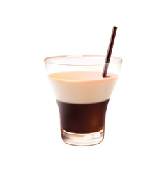 White russian cocktail realistic vector