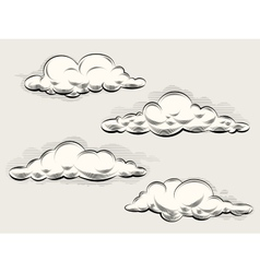 Engraving clouds vector