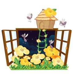 Mosquito bird house and window vector