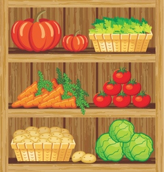 Shelfs with food vector