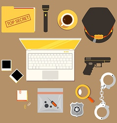 Workplace of police officer policeman police c vector