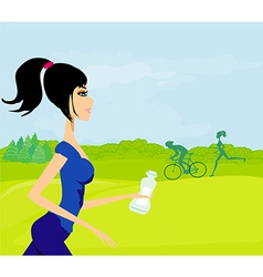 Girl jogging fitness in the park vector