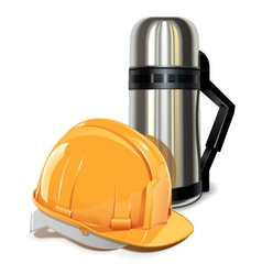 Thermos with helmet vector