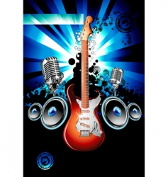 Electric guitar music background vector