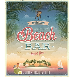 Beach bar ads flyer vector