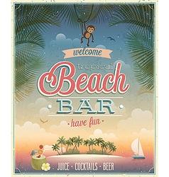 Beach bar ads flyer vector