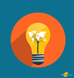 Electric light bulb with world map business vector