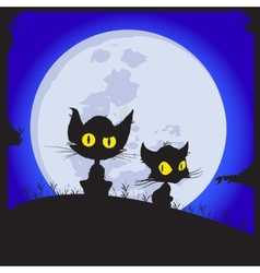 Cats sit on a glade behind the moon shines night vector