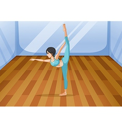 A girl performing yoga inside the studio vector
