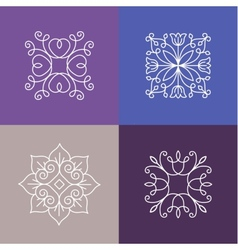 Abstract emblems - outline monograms vector