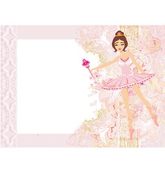 Beautiful ballerina - abstract card with flower vector