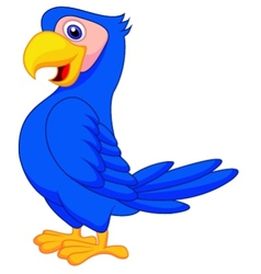 Cute blue parrot cartoon vector