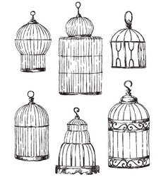 Set of different cages hand drawn vector
