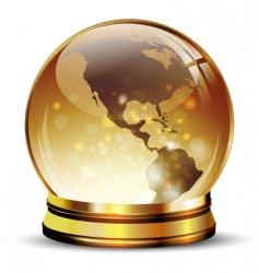 Globe in golden stand vector