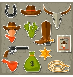 Wild west cowboy objects and stickers set vector