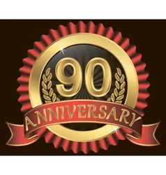90 years anniversary golden label with ribbon vector