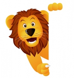 Lion with banner vector
