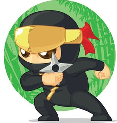 Cartoon of ninja holding shuriken vector