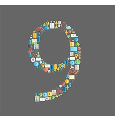 Nine number social network with media icons vector