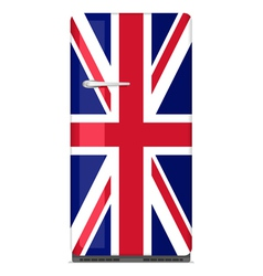 Retro fridge with uk flag vector
