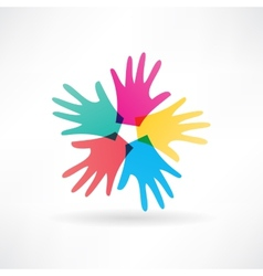 Human hands abstraction icon vector