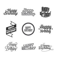 Set of happy birthday lettering vector